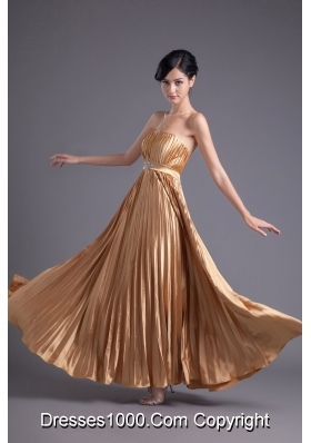 A-line Brown Floor-length Pleats Chiffon Prom Beading Dress