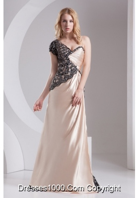 Column Champagne One Shoulder Beading Appliques Taffeta Prom Dress