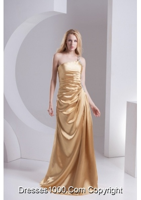 Column One Shoulder Taffeta Beading Ruching Gold Prom Dress