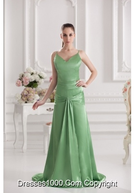 Column Spaghetti Straps Floor-length Ruching Taffeta Green Prom Dress