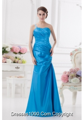 One Shoulder Column Ruching and Appliques Teal Prom Dress