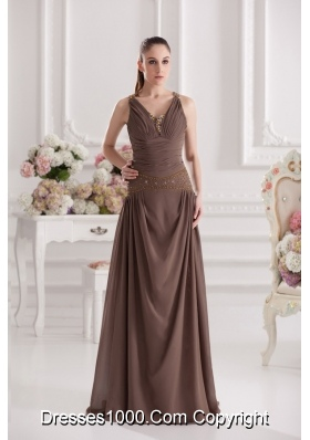 A-line Sweetheart Floor-length Beading Ruching Brown Prom Dress