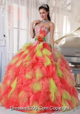 Appliques and Ruffles Organza Multi-color Discount Quinceanera Dress