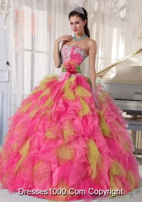Appliques Organza Sweetheart Fashionable Quinceanera Dress with Detachable Sash