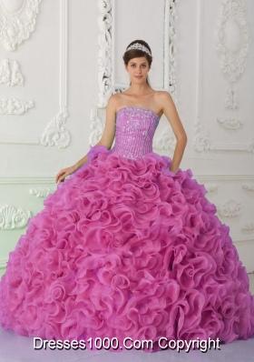 Ball Gown Strapless Organza Beaded Hot Pink Cheap Quinceanera Dress