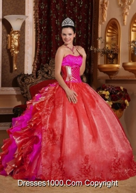 Ball Gown Strapless Ruffles and Beading Embroidery Red Discount Quinceanera Dress