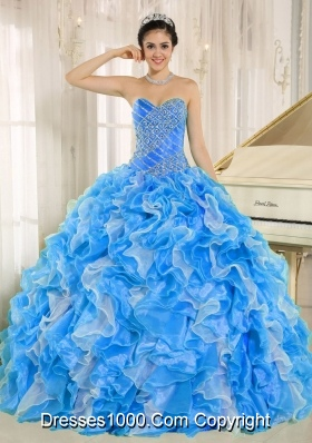Beaded and Ruffles Custom Made For 2013 Designer Quinceanera DressQuinceanera Dress In Blue