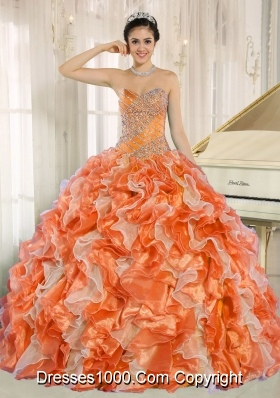 Beaded and Ruffles Custom Made For 2013 Orange Sweetheart Cheap Quinceanera Dress
