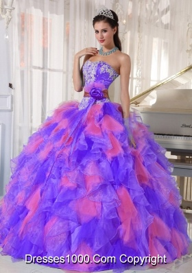 Multi-color Sweetheart Organza Appliques Decorate Fashionable Quinceanera Dress