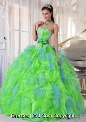 Spring Green and Blue Organza Appliques and Ruffles 2013 Quinceanera Dress