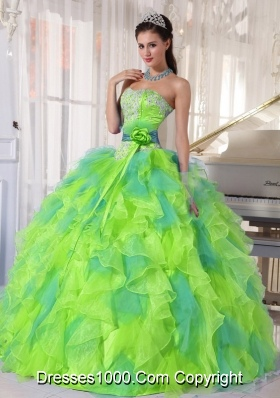 2014 Sweetehart Organza New Style Quinceanera Dress with Appliques and Ruffles