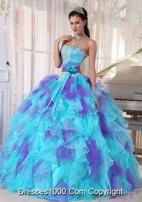 Aqua and Purple Organza Appliques Decorate Quinceanera Dress 2014