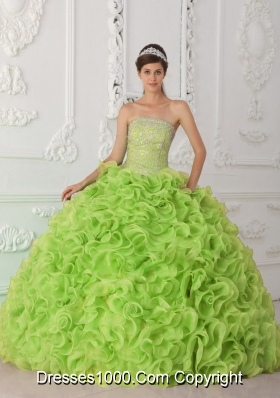 Ball Gown Strapless Organza Yellow Green New Style Quinceanera Dress with Beading