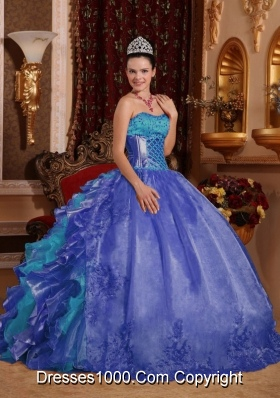 34922d434ee Cheap Ball Gown Blue Quinceanera Dress 2014 with Strapless Floor-length  Organza Embroidery
