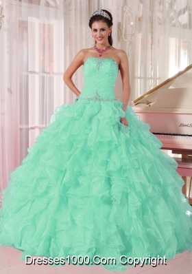 Discount Aqua Blue Ball Gown Strapless Ruching Organza Beading Plus Size