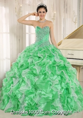 Green Beaded And Ruffles Custom Made For 2017 Sweetheart Quinceanera Dress