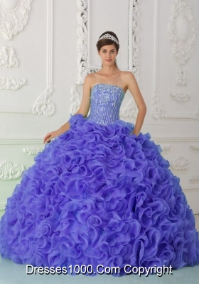 Organza Purple Most Popular Quinceanera Dress with Ball Gown Strapless Beading