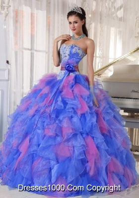 Popular Sweetheart Sweet Sixteen Dress with Appliques and Ruffles
