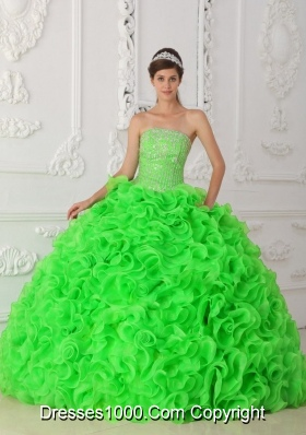 3b41cd404a7 Spring Green Ball Gown Strapless Organza Beading Quinceanera Dress 2014  with Ruffles