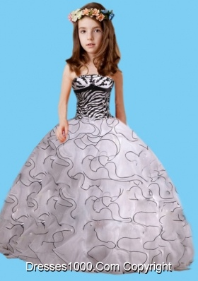 2014 Pretty Zebra White and Black Strapless Little Girl Pageant Dress