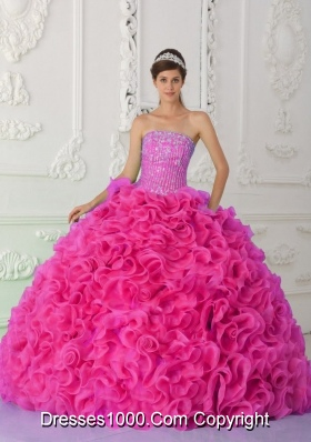 Ball Gown Strapless Organza Hot Pink Vestidos de Quinceanera Dress with Beading and Ruffles