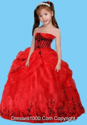 Ball Gown Strapless Remarkable Appliques Red Little Girl Pageant Dress
