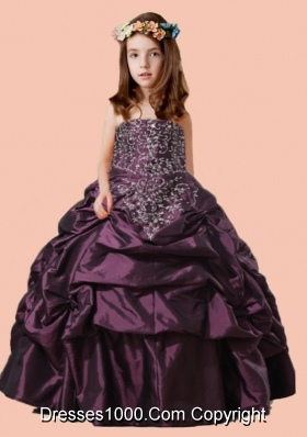 Scoop 2014 Strapless Pick-ups Ball Gown Purple Little Girl Pageant Dress