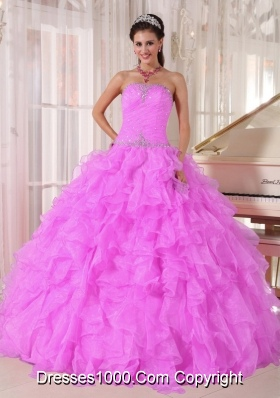Sweet Ball Gown Strapless Ruffles Organza Beading Fuchsia Vestidos de Quinceanera Dress