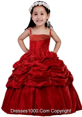 Wine Red Pick-ups Straps Beading and Ruching Little Girl Pageant Dress