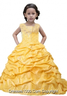 Yelloow Appliques Scoop Taffeta Pick-ups Little Girl Pageant Dresses for 2014