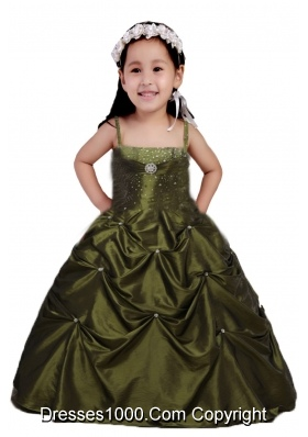 2014 Olive Green Ball Gown Beading and Ruching Little Girl Pageant Dress
