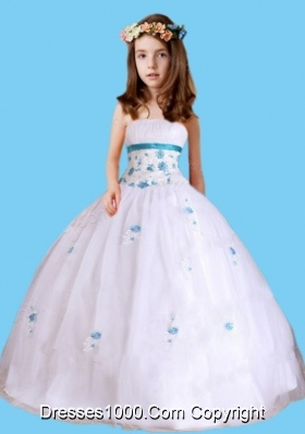 Beautiful Ball Gown Strapless Little Girl Pageant Dress with Appliques