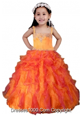Multi-color Spaghetti Straps Beading and Ruffles Little Girl Pageant Dress