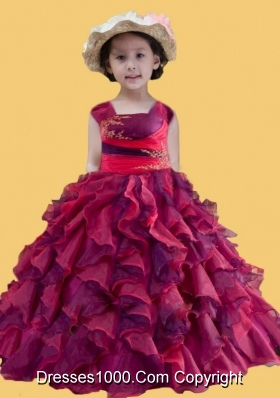 Square Appliques and Ruffles Little Girl Pageant Dress in Multi-color