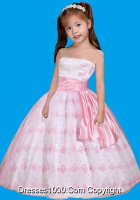 Strapless Embroidery Little Girl Pageant Dress in White and Pink