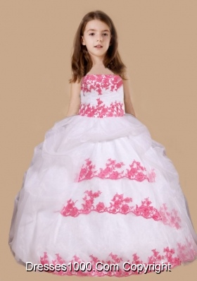 Strapless White Long Little Girl Pageant Dress with Red Appliques