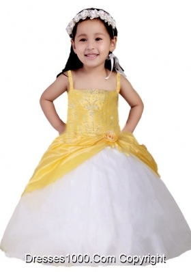 White and Yellow Spaghetti Straps Little Girl Pageant Dress with Appliques