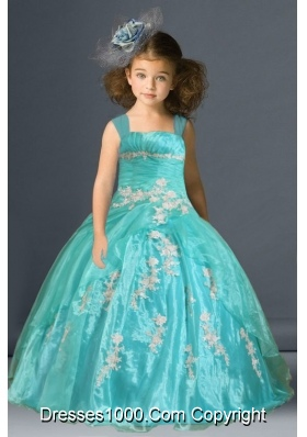 Wide Straps Organza Little Girl Pageant Dress with Appliques