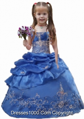 2014 Blue Ball Gown Appliques Pick-ups Little Girl Pageant Dress