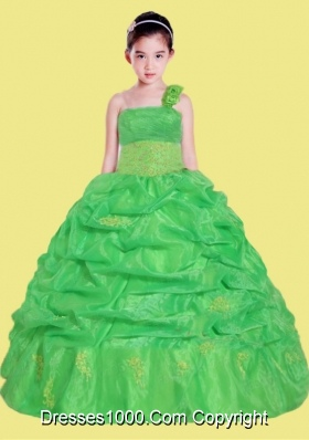 Beautiful Appliques One Shoulder Little Girl Pageant Dress in Green