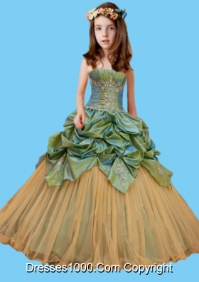 Olive Green and Champagne Little Girl Pageant Dress with Appliques