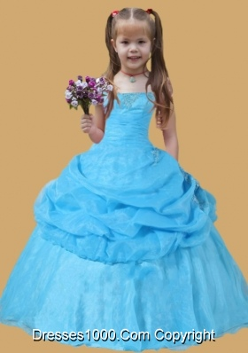 Scoop Pick-ups Ball Gown Little Girl Pageant Dress Blue