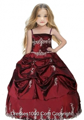 Spaghetti Straps Appliques and Pick-ups Little Girl Pageant Dress in Burgundy