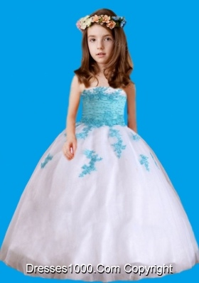 White Strapless Appliques Little Girl Pageant Dresses for 2014
