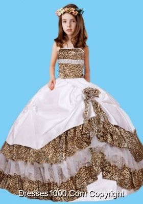 Wonderful Leopard Taffeta Strapless Little Girl Pageant Dress with Hand Made Flower