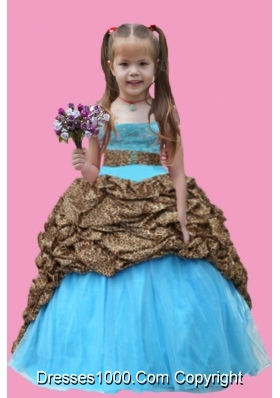 Aque Blue Ball Gown Strapless Leopard Little Girl Pageant Dress