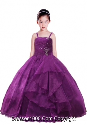 2014 Ball Gown Beading and Ruching Purple Little Girl Pageant Dress