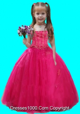 2014 Hot Pink Ball Gown Beading and Ruching Tulle Little Girl Pageant Dress