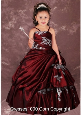 Ball Gown Ruching Strapless Appliques and Ruching Little Girl Pageant Dress