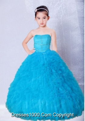 Blue Strapless Beading and Ruffles Floor-length Little Girl Pageant Dress